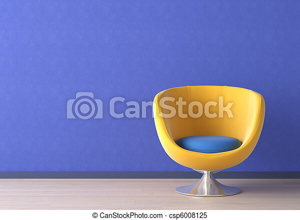 Interior design with yellow chair on blue - csp6008125