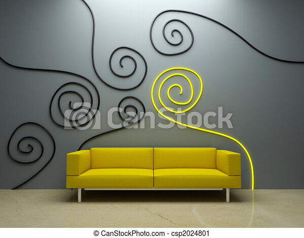 Interior Design Yellow Couch And Decorated Wall Couch In Modern Room