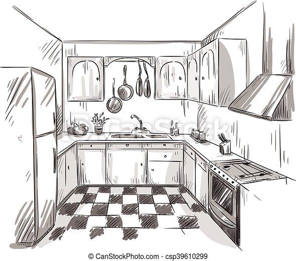 Interior dibujo cocina interior dibujo vector cocina - Cocina dibujo ...