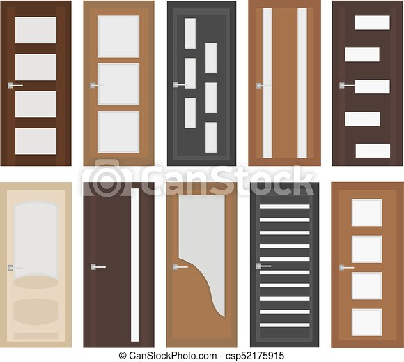 Gentil Interior Doors Set, Flat Style. Door With Different Types Of Glass.  Isolated On White Background.