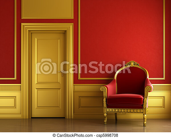 interior, dourado, desenho, vermelho, elegante - csp5998708