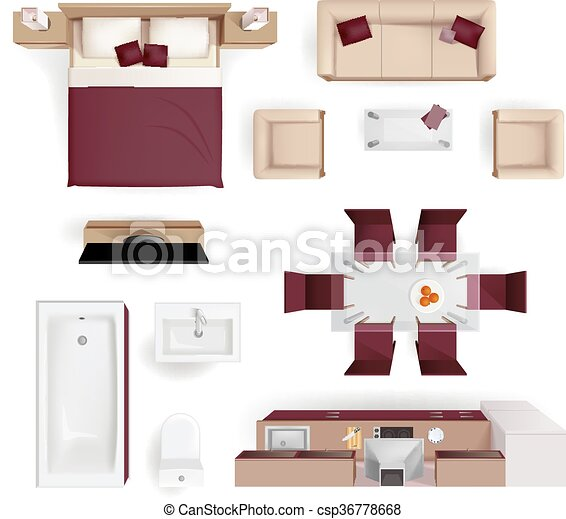 Interior Elements Top View Realistic Image Modern Apartment Living