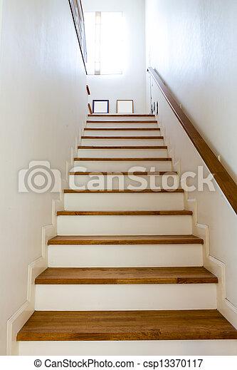 Interior, escaleras, madera, -, pasamano.