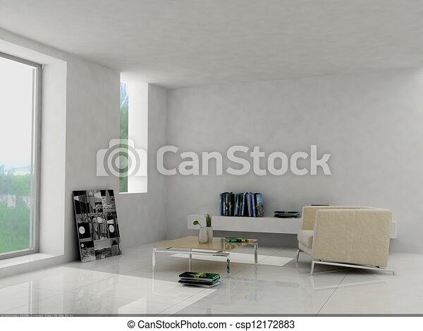 Interior fashionable living-room rendering stock illustration ...