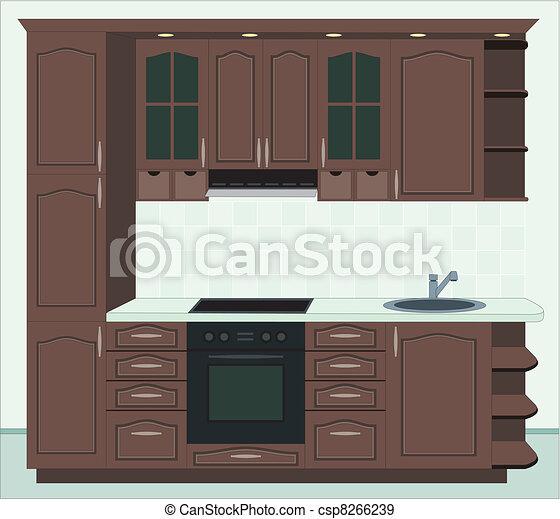 Interior, furniture., cocina.