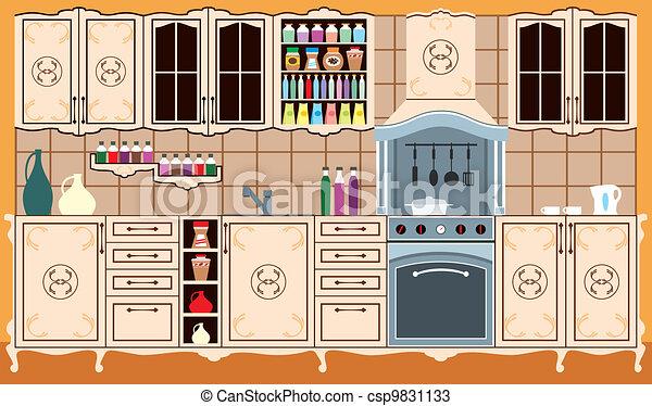 Interior, furniture., cocina. Vector, adobe, versión, edited, parts ...