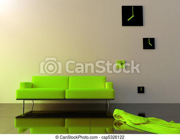 Interior - Green velvet sofa and time zone clock - csp5326122