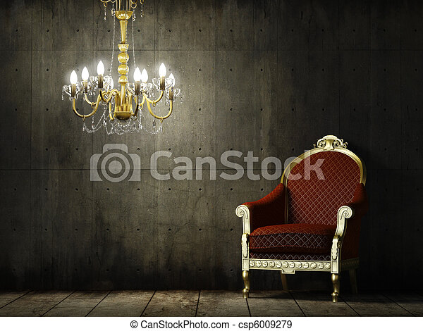 interior grunge room with classic armchair - csp6009279