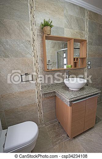 Interior, hogar, cuarto de baño, lujo, exposición. Cuarto de baño ...