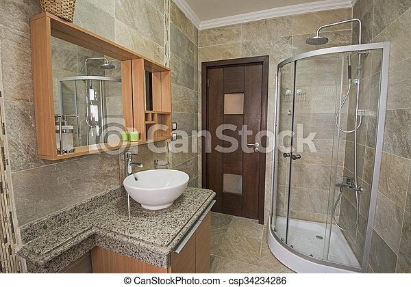 Interior, hogar, cuarto de baño, lujo, exposición. Cuarto de ...