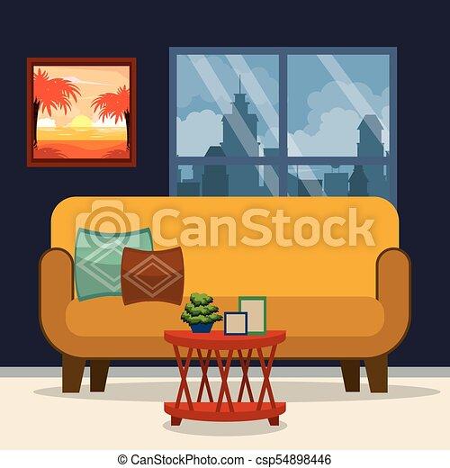 Interior, hogar, muebles. Gráfico, ilustración, vector,... vector ...