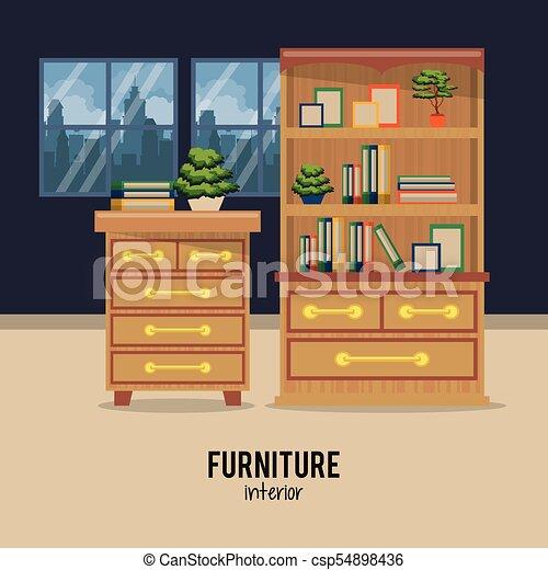 Interior, hogar, muebles. Gráfico, ilustración, vector,... vectores ...