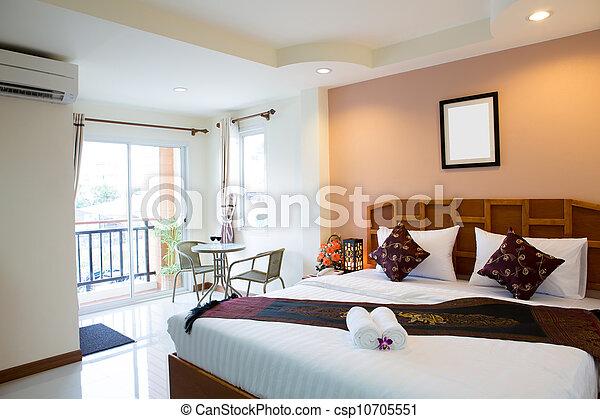 interior, hotel, quarto moderno, confortável - csp10705551