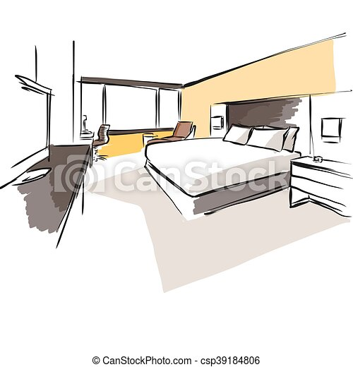 interior hotel room concept sketch layout hand drawn and coloured