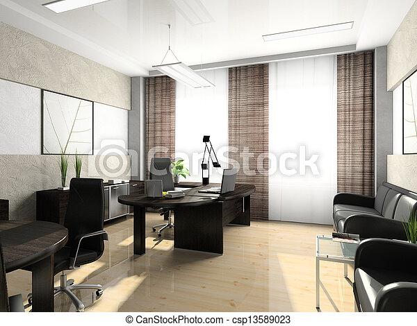 interior, interpretación, 3d, oficina, gabinete - csp13589023