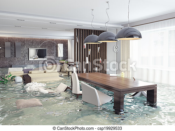 interior, inundação - csp19929533