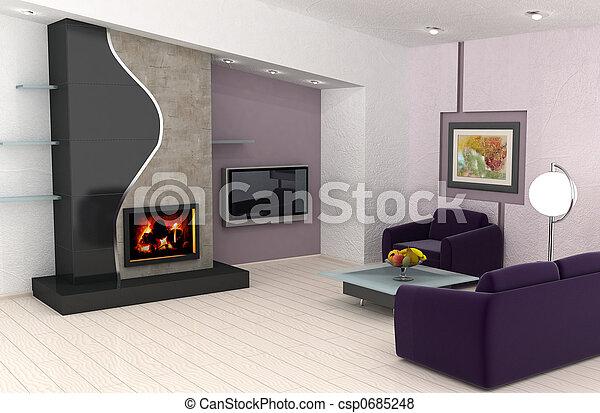 interior, lar, desenho - csp0685248