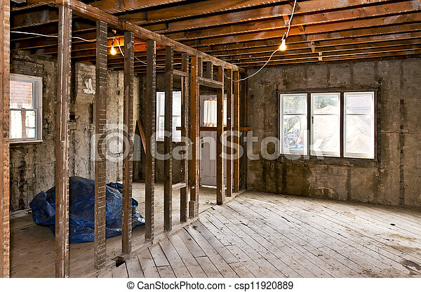 interior, lar, gutted, renovação - csp11920889