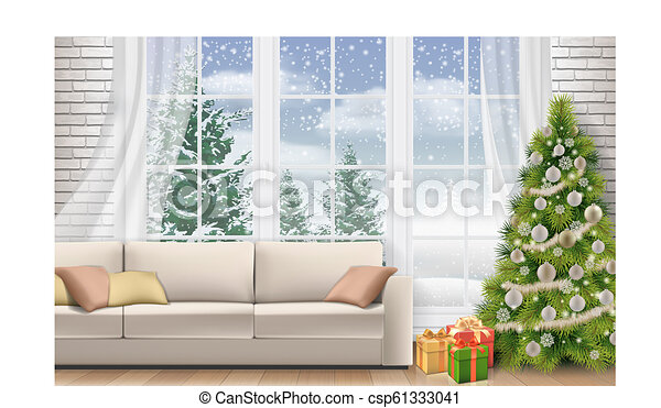 Interior Living Room Decorated Christmas Tree Christmas Interior Of Living Room Sofa On White Brick Wall Background
