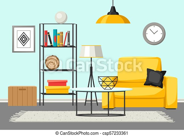 Interior Living Room Furniture And Home Decor Illustration In Flat