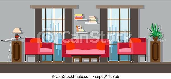 Interior living room home furniture design. Modern house apartment sofa  vector. Flat bright window, table, wall decor. Illustration floor concept  ...