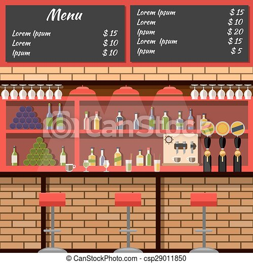 Interior del bar con menú de mesa - csp29011850