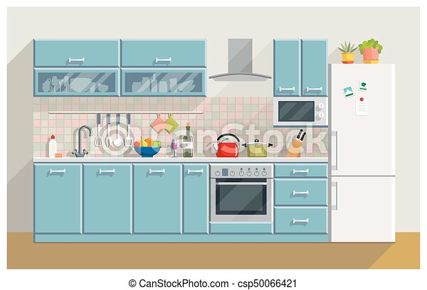 interior, moderno, cocina, muebles