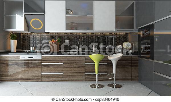 Interior, moderno, diseño, cocina. Cerámico, de madera, luz, moderno ...