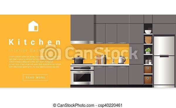 Diseño de interiores modernos de cocina - csp40220461
