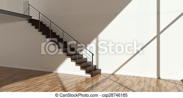 Interior vacío con escaleras modernas - csp28746185