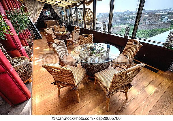 Interior del moderno restaurante de lujo - csp20805786