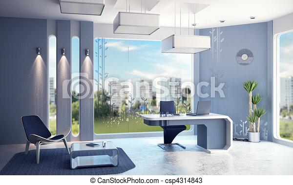 interior, moderno, oficina - csp4314843