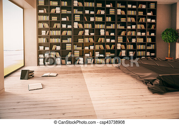interior, modernos, biblioteca - csp43738908
