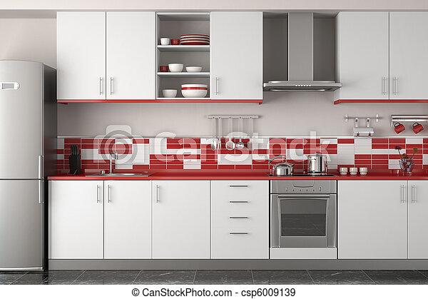interior, modernos, desenho, vermelho, cozinha - csp6009139