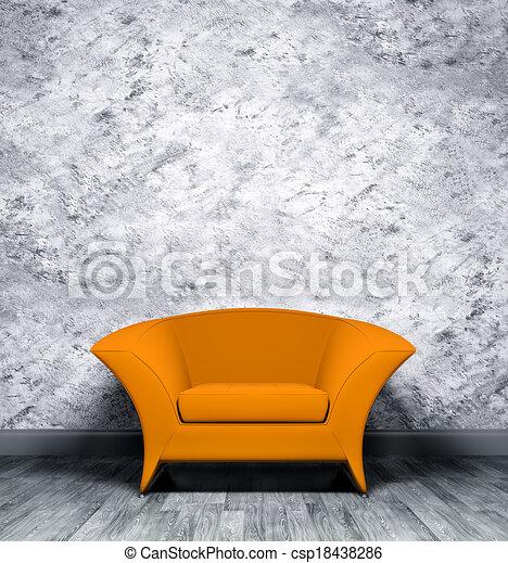 Interior con sillón naranja - csp18438286