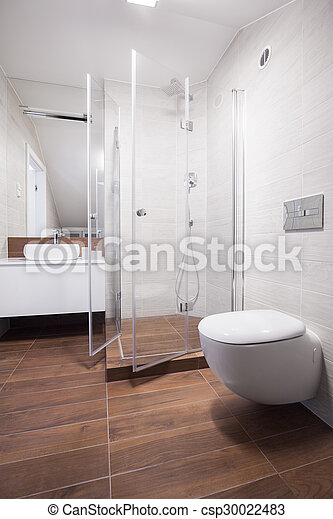Interior, nuevo, cuarto de baño, diseño. Cuarto de baño, luz, imagen ...