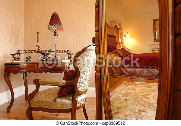 interior of a bedroom, reflection in a mirror - csp3389512