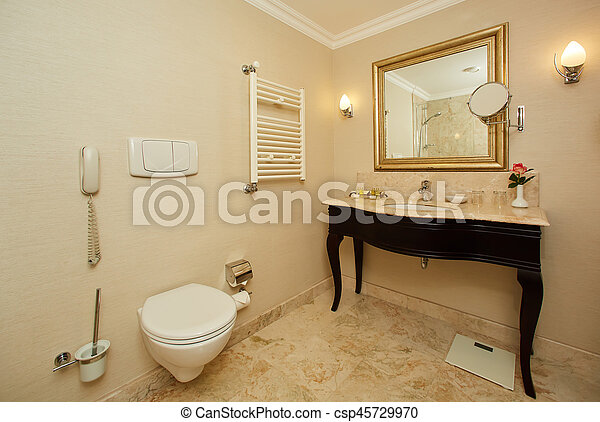 Interior of a hotel bathroom - csp45729970