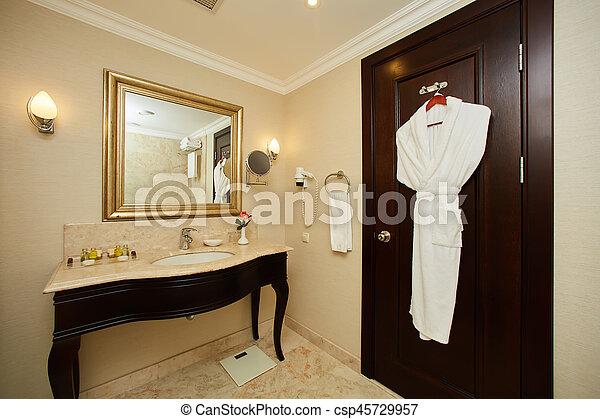 Interior of a hotel bathroom - csp45729957