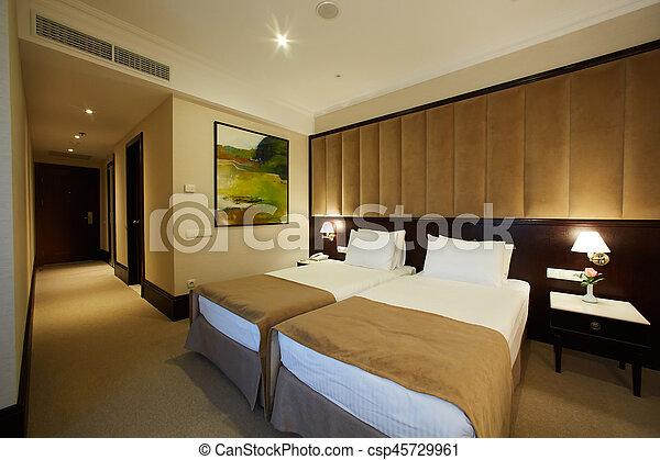 Interior of a hotel bedroom - csp45729961
