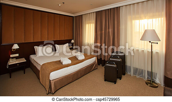 Interior of a hotel bedroom - csp45729965