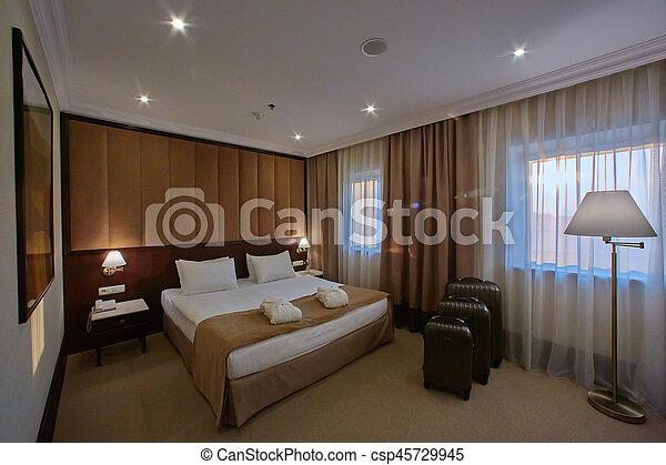 Interior of a hotel bedroom - csp45729945
