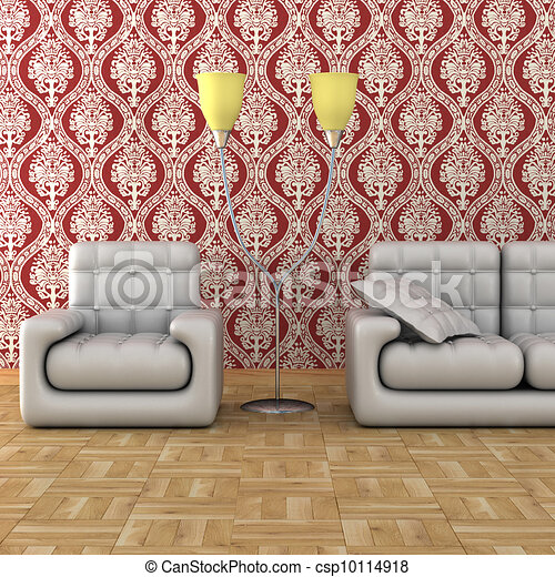 Interior of a living room. 3D image. - csp10114918