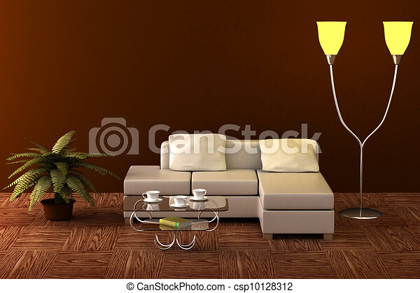 Interior of a living room. 3D image. - csp10128312