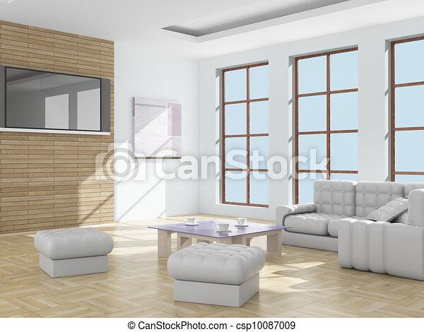 Interior of a living room. 3D image. - csp10087009