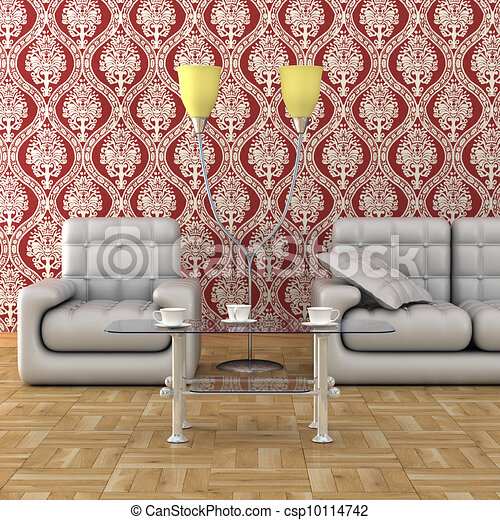 Interior of a living room. 3D image. - csp10114742