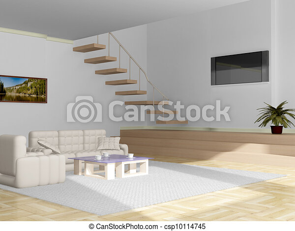 Interior of a living room. 3D image. - csp10114745