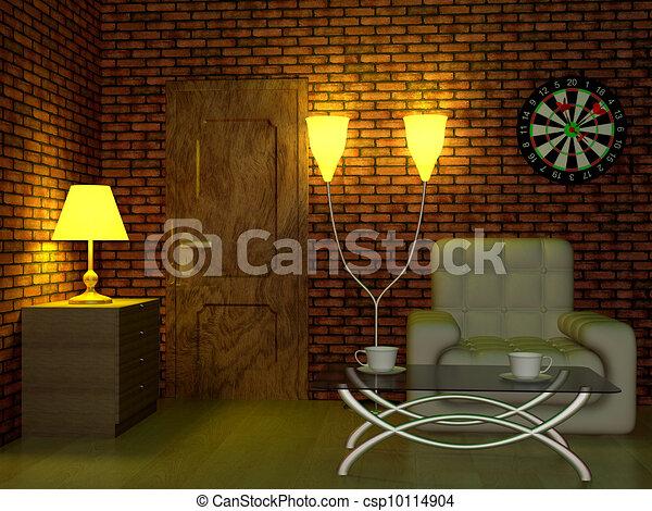 Interior of a living room. 3D image. - csp10114904