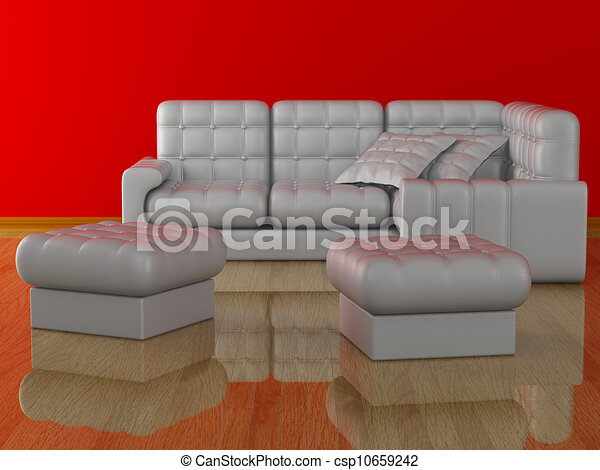 Interior of a living room. 3D image. - csp10659242