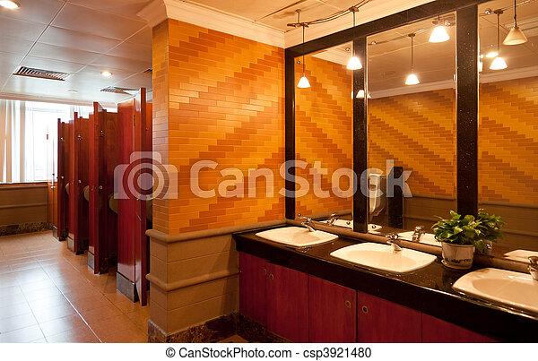 Interior of a luxury public restroom  - csp3921480